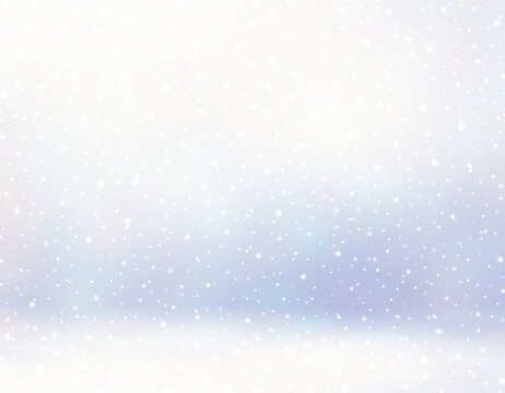 Fine snow falling into light blue room 3d render. Winter decorative pastel empty background. Blur texture.