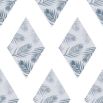 Vector Palm Leaves Composition inside Rhombus Composition in Blue seamless pattern background. Perfect for fabric, wallpapper and scrapbooking projects.