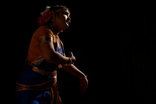 Kuchipudi dancer showing Karuna rasa in her performance
