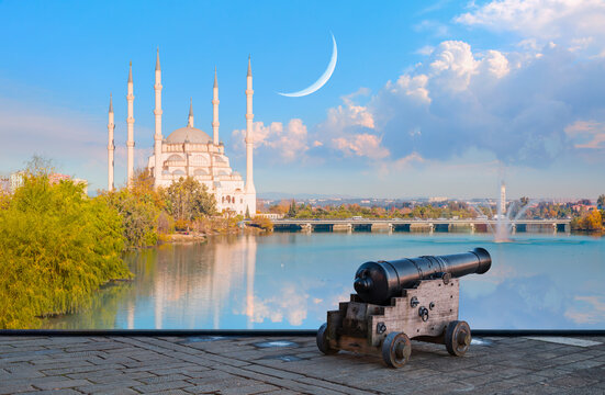 Ramadan Concept - Sabanci Mosque with crescent moon and cannon - Adana, Turkey