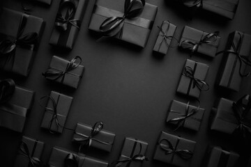 Printed kitchen splashbacks Akt Arranged Gifts boxes wrapped in black paper with black ribbon on black background. Christmas concept