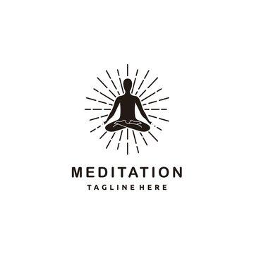 Yoga meditation silhouette in meditating pose with scroll and sunburst on white background logo design studio vector