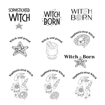 Set of line art witchcraft and magic items and scenes. Witchy mystical clipart. Prints with text.