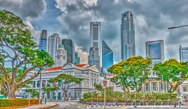 Downtown Singapore skyline, HDR Image