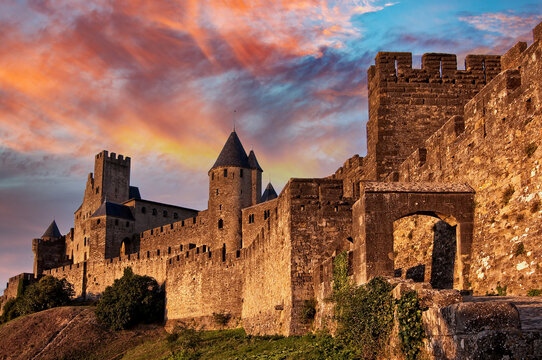 Medieval fortress of Carcassonne at sunset, France