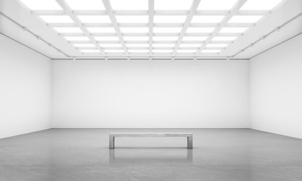 White cube blank walls gallery room front wall with bench for art show mockups.