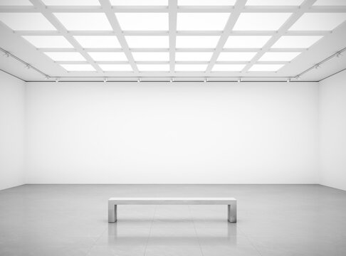 3D rendering of white cube blank walls gallery room front wall with bench for art show mockups.