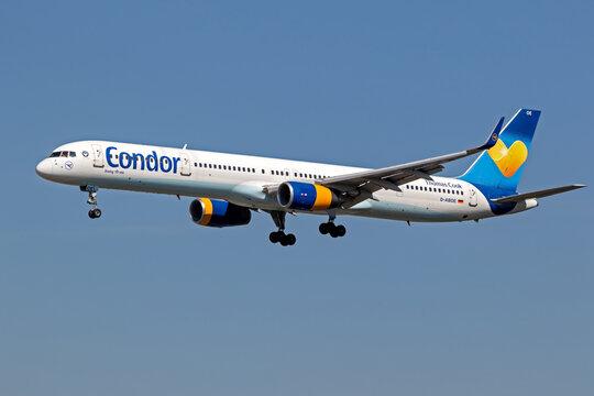 Condor (Thomas Cook) Boeing 757 passenger plane arriving at Frankfurt Airport.. Germany - September 11, 2019