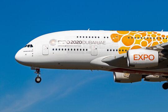 Emirates Airlines Airbus A380 passenger airliner on Frankfurt Airport. Frankfurt, Germany - September 11, 2019: