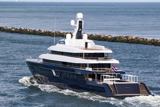 New Lonian Yacht entering the North Sea near the Port of Rotterdam. The Netherlands - September 9, 2018