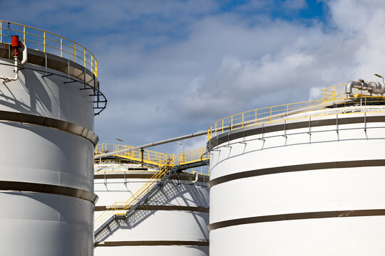 Oil storage tanks at a petrochemical plant.