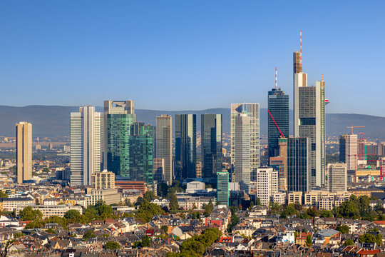 Summer morning view on the city centre skyline of Frankfurt, the financial center of the Germany.