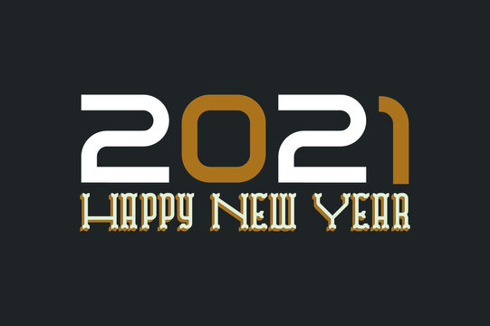 2021 happy new year modern type font vector design