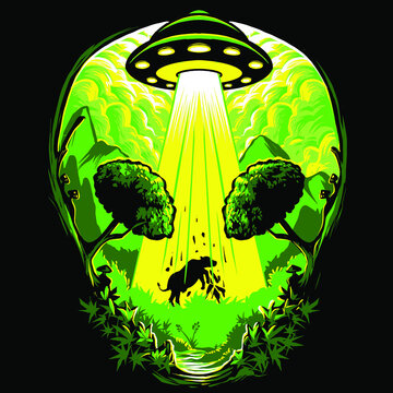 marijuana weed aliens concept for t-shirt design
