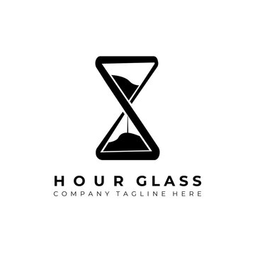 Hourglass logo vector illustration design, simple creative hourglass logo symbol icon template design