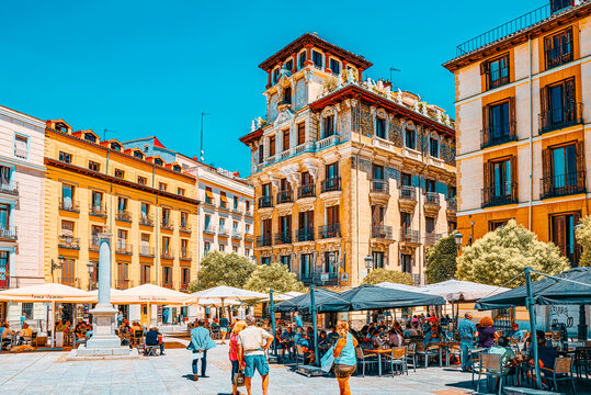 Square Plaza Ramales of Madrid in the downtown of the city with