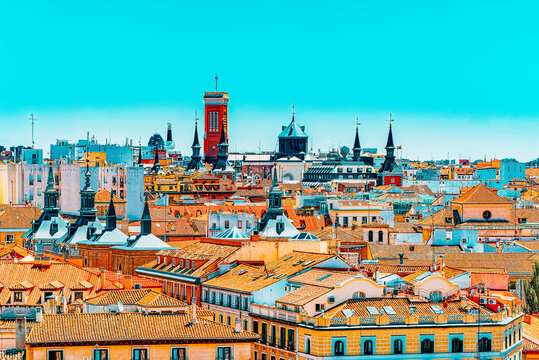 View of the capital of Spain-beautiful city Madrid from a bird's