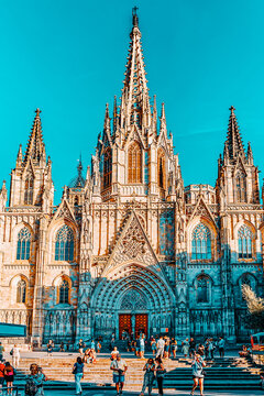 BARCELONA, SPAIN - SEPT  02, 2014: Beautiful  view landscape of  Gothic Quarter in the heart of Barcelona.The most popular city in the Mediterranean resort in Spain.