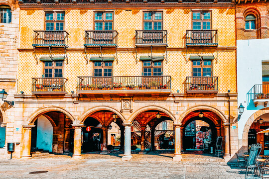 Typical landscapes and authentic Catalan cozy streets in cities of  Spain.Catalonia.