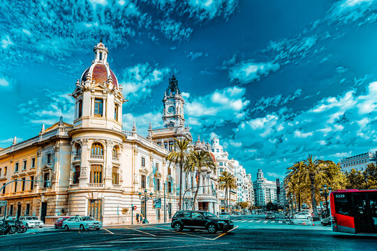 VALENCIA, SPAIN - SEPT 10: Cityscape of Valencia. September 10, 2014 in Valencia, Spain. Every year,Valencia(third size population  city in Spain)welcomes more than 4 million visitors.
