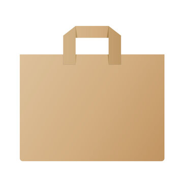 brown paper shopping bag isolated on white vector illustration
