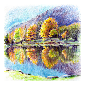 Colored pencils sketch of Sunny autumn carpathian Lake and forest