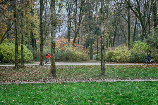 Munich Englischer Garten in autumn,beautiful park in the heart of the city to take a bike ride in the nature