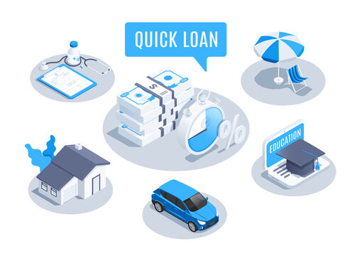 isometric vector illustration isolated on white background, quick loan set, money to buy housing and transport and also for training for treatment and recreation