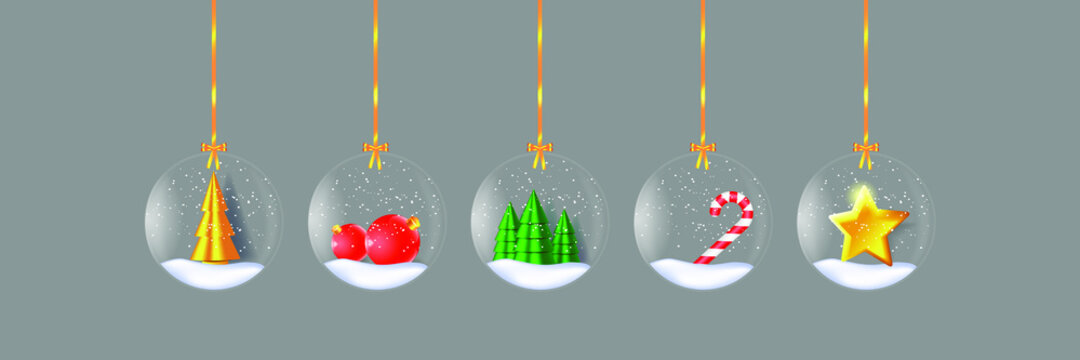Merry Christmas and Happy New Year illustration. Winter holiday vector illustration. Christmas glass balls with festive decor