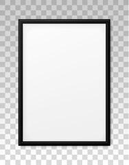 Fototapeta Mockup black frame photo. Shadow on wall. Mock up artwork picture framed. Vertical boarder. Empty board a4 photoframe. Modern stylish 3d border for design prints poster, blank, painting image. Vector