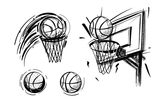 Set of basketball sketch. Basketball emblem, ball, basket, sketch vector illustration