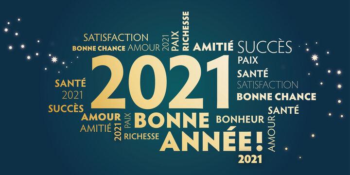 Carte de voeux – bonne année 2021 - vert et doré.