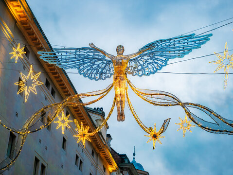 Big illuminated angel shape in Christmas holiday outdoors in the center of London