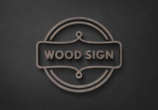 Elegant 3D Wood Sign Logo Mockup