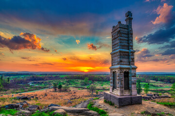 Sunset scenery from Little Round Top in Gettysburg, Pennsylvania