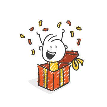 Strichfiguren / Strichmännchen: Überraschung, Geschenk. (Nr. 571)