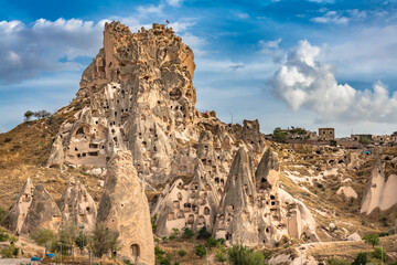 Printed kitchen splashbacks Asia Country Uchisar natural rock castle and town, Cappadocia, Central Anatolia, Turkey