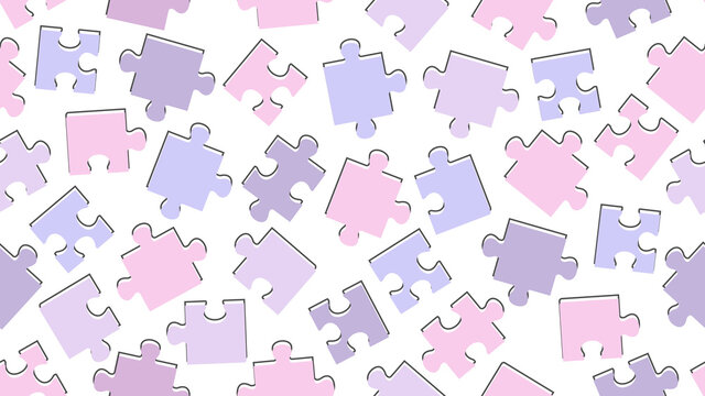 Puzzle. Seamless purple children's pattern. Vector illustration Wallpaper or background.