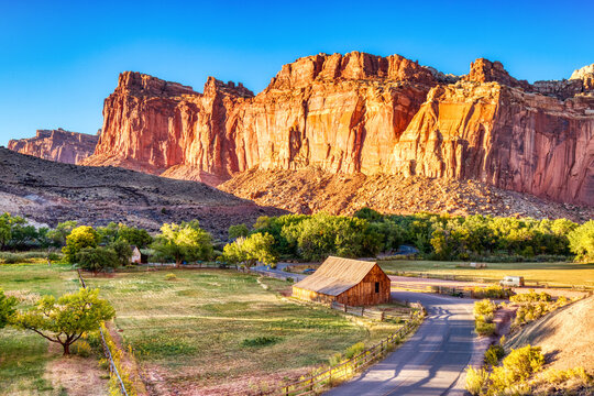 Landscape with Monumental Old Barn in Fruita at Sunset, Capitol Reef National Park, Utah