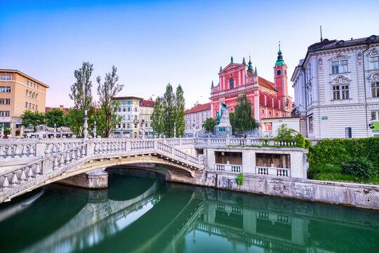 Ljubljana City Center at Dusk overlooking the Triple Bridge and Beautiful Franciscan Church