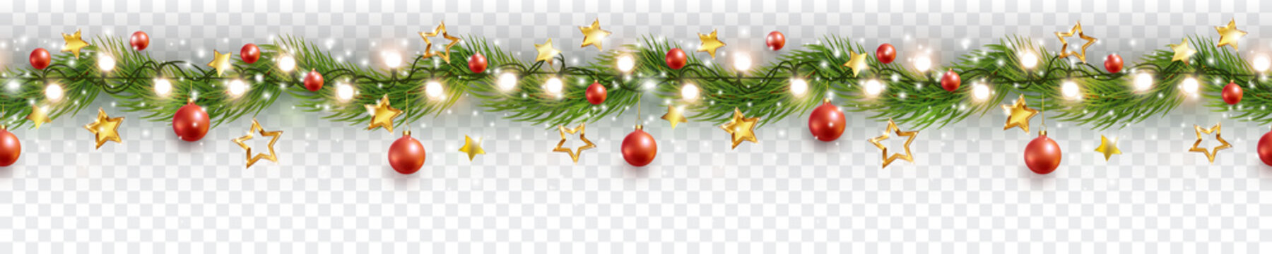 Border with green fir branches, gold stars, red balls, lights isolated on transparent background. Pine, xmas evergreen plants seamless banner. Vector Christmas tree garland decoration