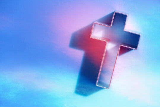 Cross with globe in background. Jesus Christ the only way to salvation. Church worship. Faith symbol. Holy cross for Christmas, Easter day. Gate to heaven. Eternal life of soul. Christianity gospel