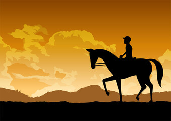 Fototapeta silhouette design of man is riding horse,vector illustration
