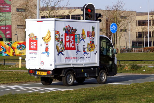 Almere Buiten, the Netherlands - February 18, 2019: Electric delivery vehicle E-Worker from Picnic, a Dutch online supermarket.