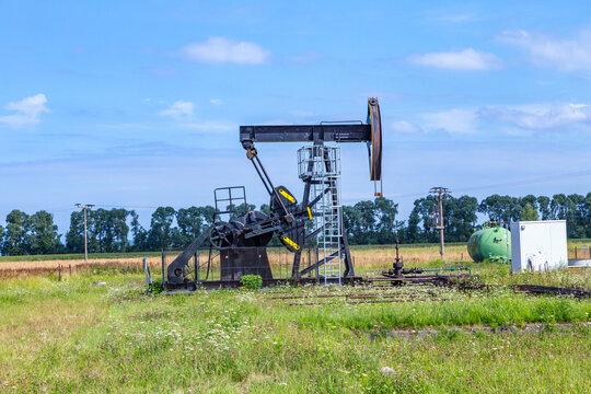 oil rig in Usedom in rural oilfield landscape