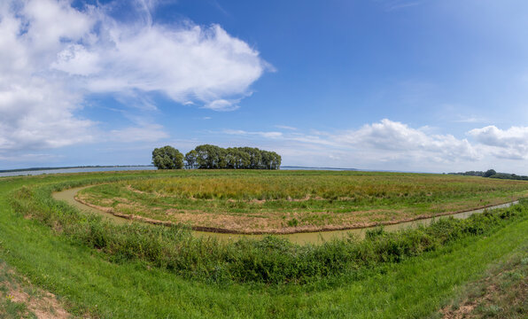 rural landscape in Usedom with typical achterwsser creeks and agriculture