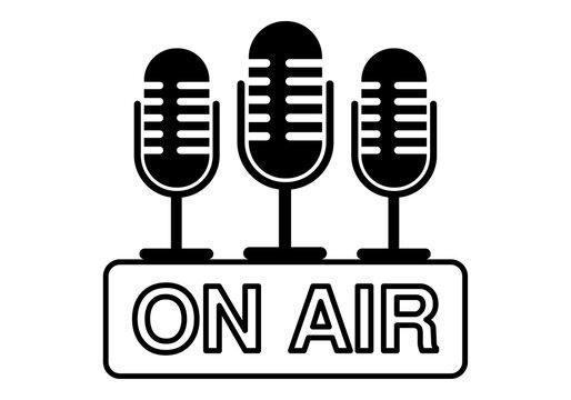 Cartel de icono negro con micrófonos de radio, en el aire.