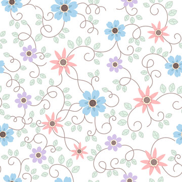 Seamless surface repeat vector pattern with little blue, purple and peach flowers and green leaf vines on a white background