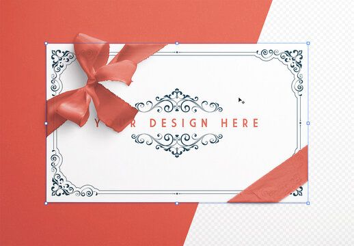 Card with Knotted Corner Ribbon Mockup