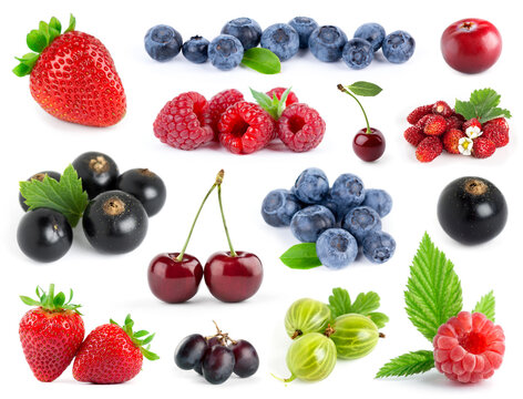 Fruits. Collection of berries on white background. Strawberry, blueberry, grape, black currant, gooseberry, cherry and raspberry.